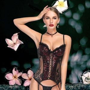 Image 3 - Corset women   steampunk корсет lace black sexy bustier corset waist trainer sexy lingerie bodysuit slimming underwear corselet