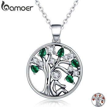 BAMOER 925 Sterling Silver Rely Tree of Life Pendant Necklaces