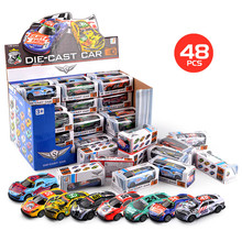 48pcs/Lot 1:64 Alloy Car Pull Back Diecast Model Toy Sound light Collection Brinquedos Car Vehicle Toys For Boys Children Gift 6pcs alloy iron shell mini toy car diecast 1 64 oyuncak araba racing pull back model car small gift kids toys for children boys