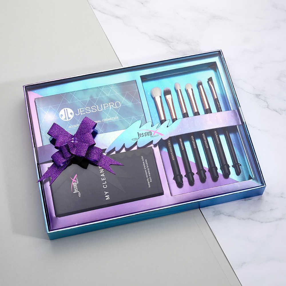 Jessup nouveau 6 pièces fard à paupières brosse professionnelle maquillage brosse nettoyant éponge et 12 couleurs fard à paupières Palette et boîte cadeau emballage