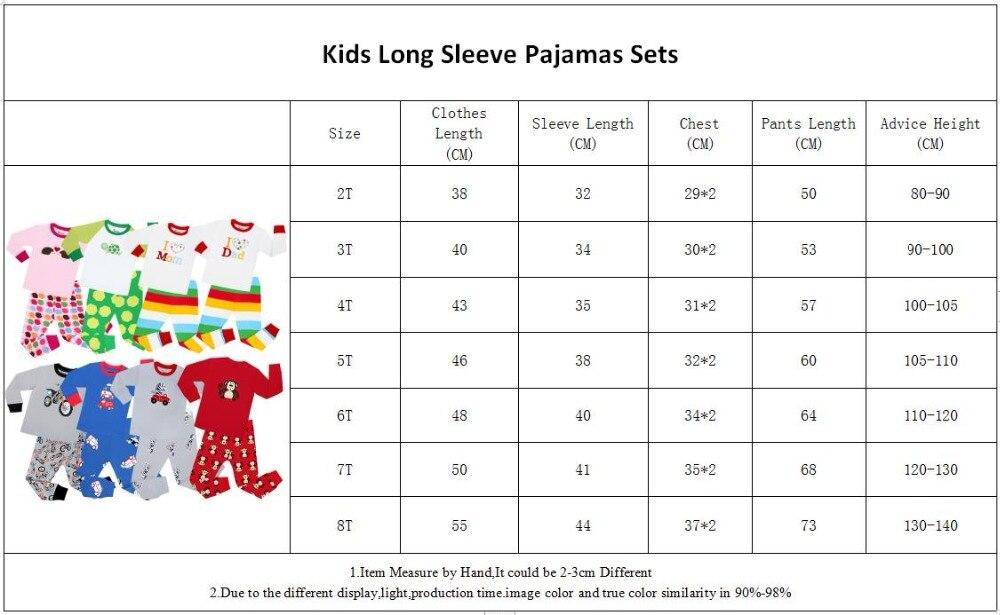 NO-Long Sleeve Pajamas Size 2-8Years