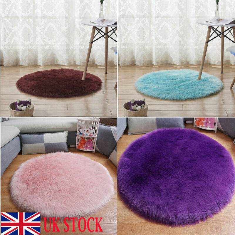Round Fluffy Rug Shaggy Floor Mat Soft Faux Fur Home Bedroom Hairy Carpet Floor Mat