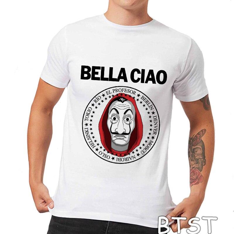 Nouveau Bella Ciao V 2 Streetwear Hip Hop 100% coton t-shirt hommes La Casa De Papel imprimé o-cou t-shirt Homme Punk hauts à La mode