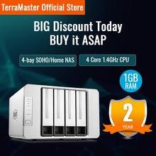 Terramaster F4-210 4-bay nas quad core 1gb ram rede raid armazenamento de mídia servidor de armazenamento pessoal em nuvem (diskless)