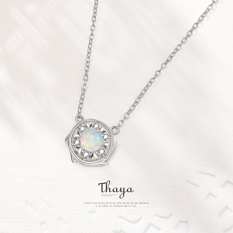 Fairy Tale Series Thaya Silver 925 Exquisite Opal Zircon Necklace Choker 925 Sterling Silver for Women Nacklace Fine Jewelry Gif