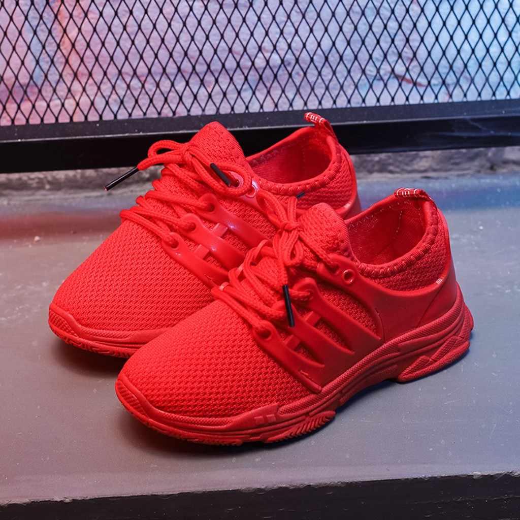 Çocuk örme kumaş nefes koşu ayakkabıları örgü rahat kızlar ayakkabı kız erkek spor ayakkabı kaymaz çocuk Sneakers çocuk ayakkabı