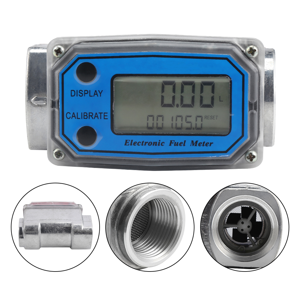 LCD Digital Flow Meter Turbine Flowmeter Diesel Fuel Flow Meter For Measuring Gasoline Diesel Kerosene