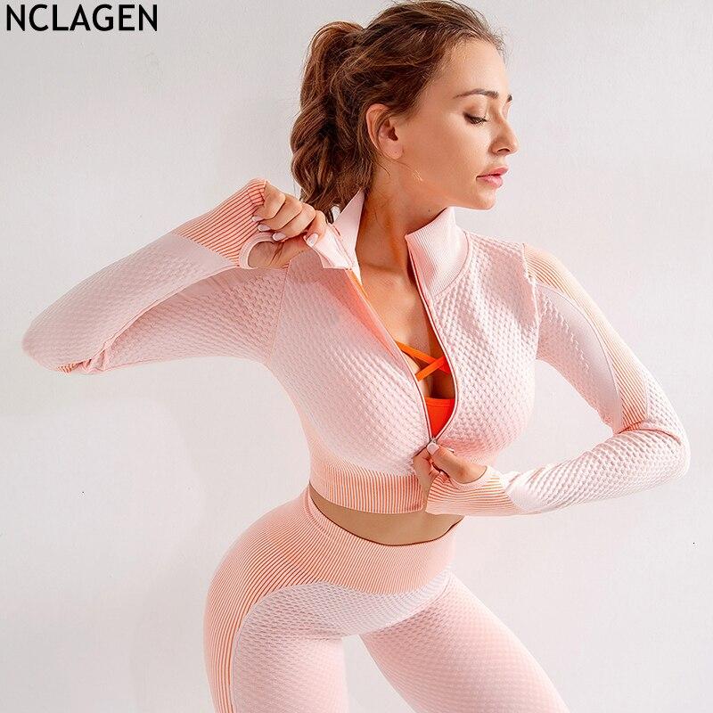 NCLAGEN Women Sportswear Yoga Running Jackets Zipper Seamless Training Shirts Nylon Gym Workout Tights Quick Dry Sexy Top Coat