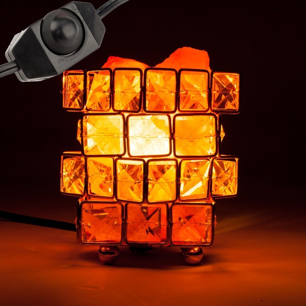 Ship from US Himalayan Salt Lamp,Natural Hymalain Salt Rock in Crystal Basket with Dimmer Switch,UL-Listed Cord &Wood Base