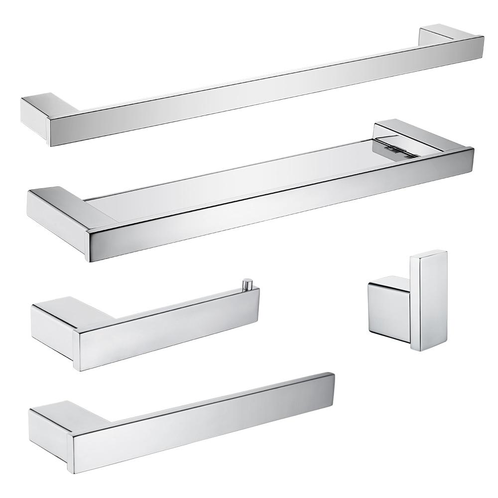 Stainless Steel Bathroom Hardware Set Mirror Chrome Polished Glass Shelf Toilet Paper Holder Towel Bar Hook Bathroom Accessories