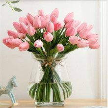 NieNie 11 Pcs/lot Artificial Flowers DTY Real Touch PU Tulip For Home Bouquet Wedding Decorative