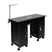Manicure Nail Table Station Black Steel Frame Beauty Spa Salon Equipment Drawer Salon Furniture