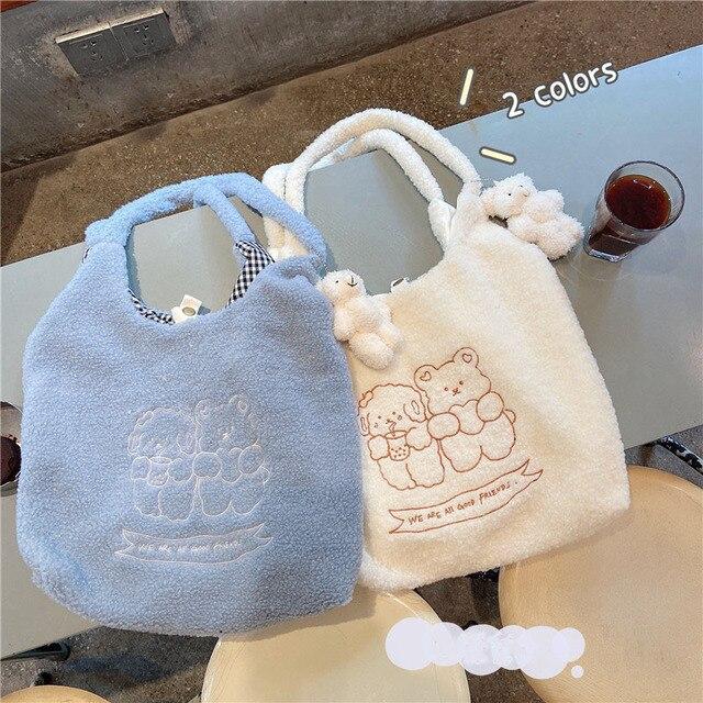 Hylhexyr Women Soft Plush Tote Simple Warm Cloth Shopper Bags Embroidery Bear Handbag  Eco Shoulder Bag Purses For Girls 4