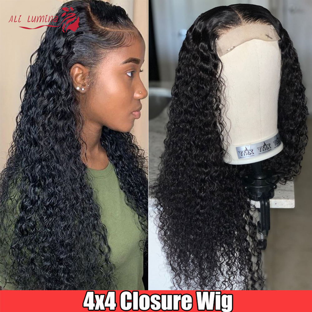 30 Inch wig Curly Human Hair Wigs For Black Women Pre plucked 180% Density Remy Indian Hair Wig 4x4 Transparent Lace Closure Wig