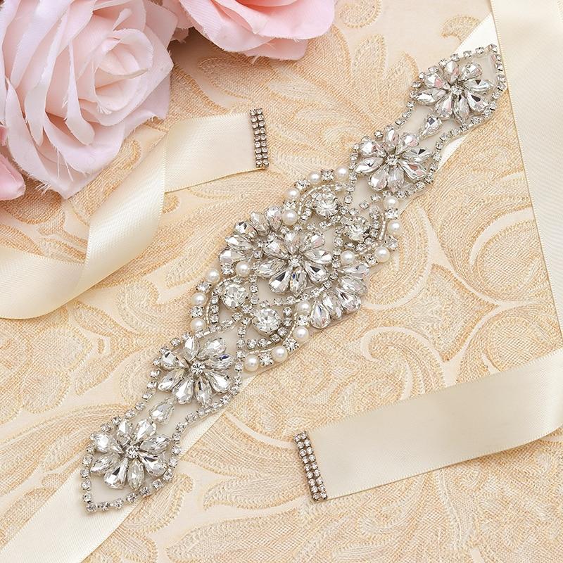MissRDress Silver Rhinestones Bridal Belt Crystal Pearls Ribbons Wedding Belt Sash For Bridal Bridesmaids Dresses JK910