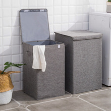 cotton Linen Collapsible Hamper Large Storage box Waterproof Laundry Bucket  Bathroom Storage Basket Foldable Laundry Hamper