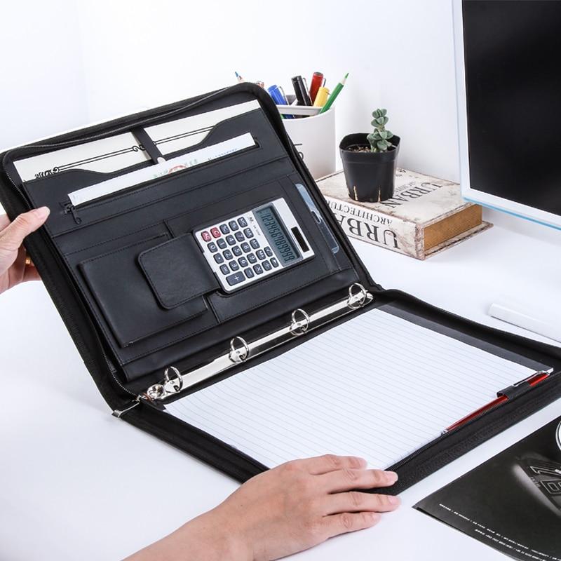 A4 Folder Multifunctional Portable Office Binder Card Holder Zipper Management Clip Calculator Leather Document Notepad Business