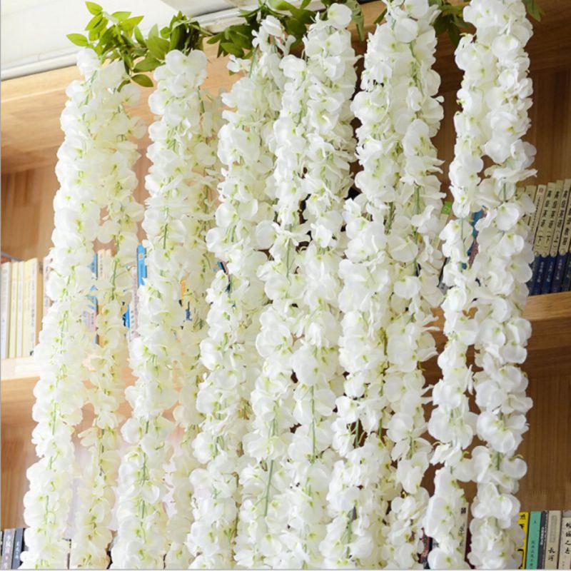 Hot White Wisteria Garland Hanging Flowers For Outdoor Wedding Ceremony Decor Silk Wisteria Vine Wedding Arch Floral Decor M