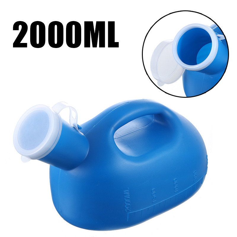 1pc 2000ml Blue Portable Pee Bottle Plastic Mobile Urinal Toilet Aid Bottle Man Toilet Supply For Outdoor Camping Hospital Care
