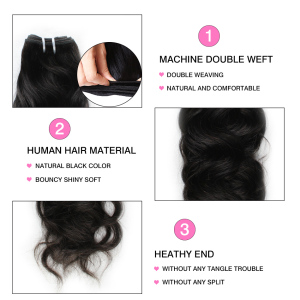 Image 4 - Alisky Hair Malaysian Natural Weave 4 Bundles 100% Human Hair Weave Bundles Remy Human Hair Extensions Natural Black High Ratio