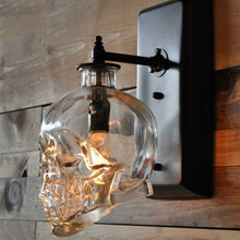 Skull Bones Wall Lamp Retro Loft Sconces Clear Glass Bottle Wall Light Fixtures For Dinning Room Bar Industrial Home Decor E14(China)