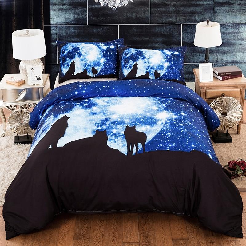 Nouveau moderne bleu blanc galaxie loup housse de couette taie d'oreiller double reine roi taille 3D Animal literie ensemble bon textile à la maison
