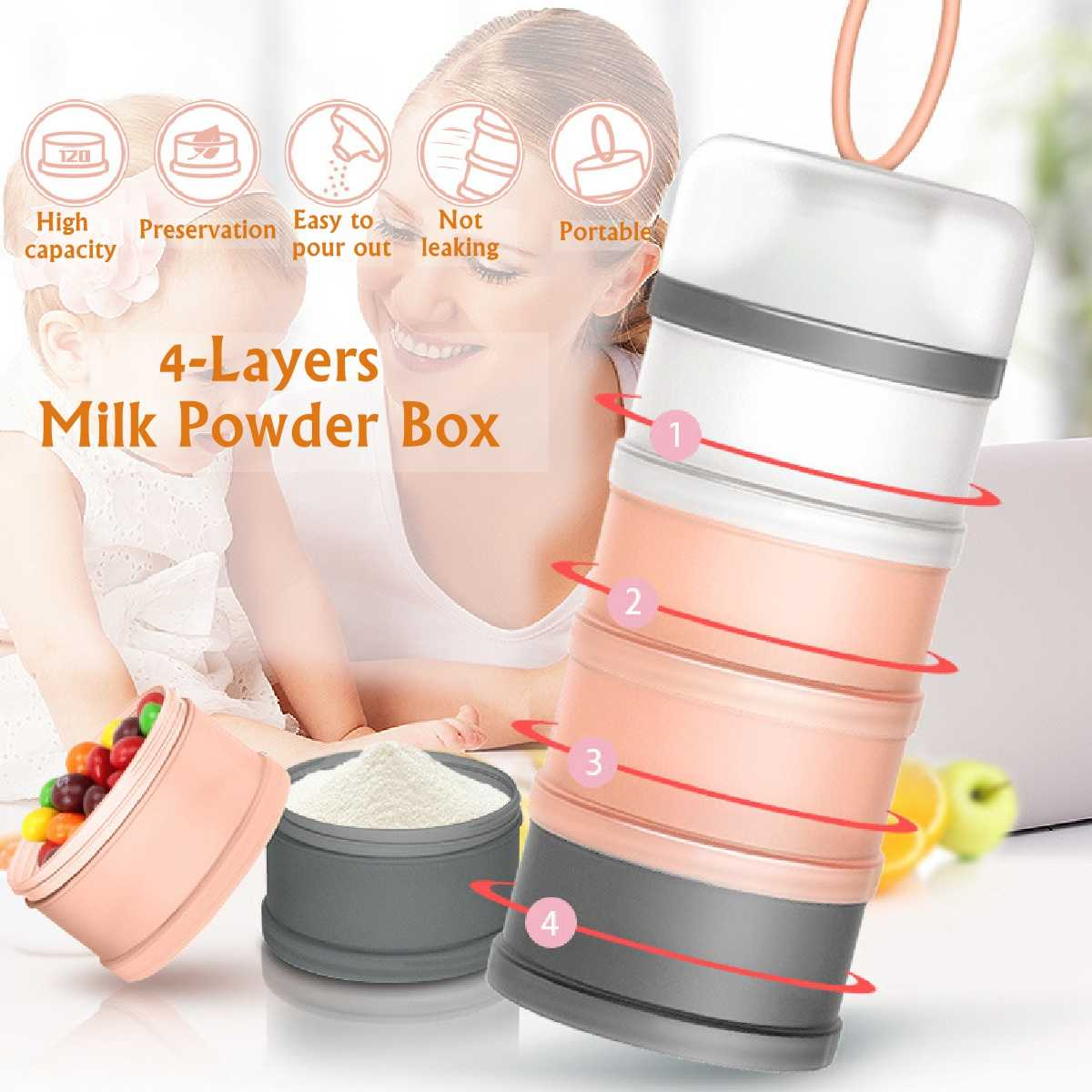4 Layer 18.5cm Detachable Baby Food Storage Box 480ml Essential Cereal Milk Powder Boxes Portable Toddle Kids Milk Container