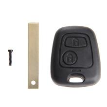 2 кнопки сменный Корпус Ключа Uncut Blade автомобильный пустой корпус для дистанционного ключа Fob Чехлы для Peugeot 107 207 307 407 607 1007 C2