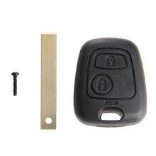 2 boutons De Remplacement Clé Shell Lame Non Coupée À Distance de Voiture Blanc boîtier porte clé Couvre Pour Peugeot 107 207 307 407 607 1007 C2