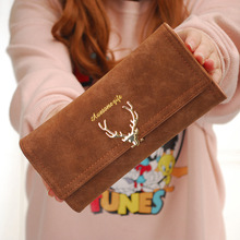 New Cute PU Leather Purse deer-shaped Decoration Long Multi-card Wallet Purse Buckle Clutch Mobile Phone Student Women's Wallet cute dolphin style mobile phone wallet bag decoration deep pink white