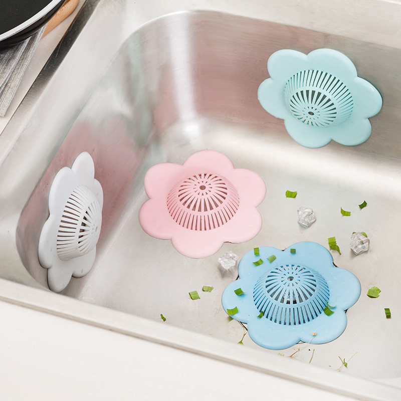 1-3 Pcs Hair Filter Sink Pad Kitchen Silicone Sink Collect Bath Stopper Floor Plug Strainer Drain Sewer Hair Filter