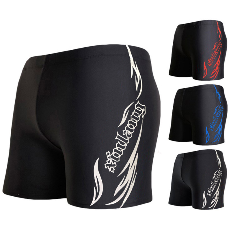 Xiao Shu 2020 New Style Waterproof Quick-Drying Sun-resistant Faux Sharkskin Long Legs Competition Men Boxer Flame Lettered Swim