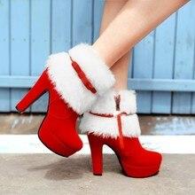 Platform Shoes Short Boots Ankle-Boots Plus-Size High-Heels Black Femme Winter Women