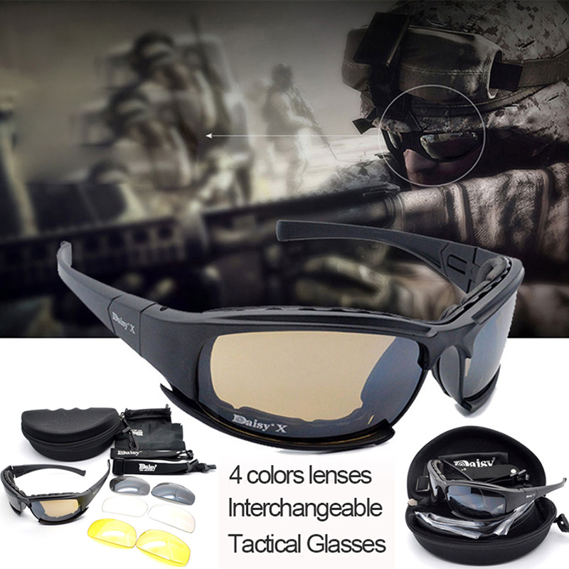 Military Gear Shooting Glasses Tactical X7 Polarized Sport Glasses Airsoft Hunting Safety Goggles Sunglasses 4 Lens