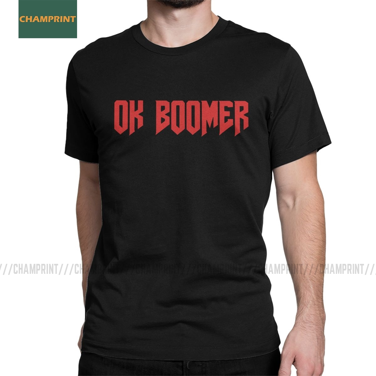 OK Boomer DOOM T Shirts Men 100% Cotton Unique T-Shirts Round Collar Quote Generation Z Okay Meme Tees Short Sleeve New Arrival image