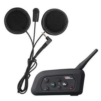 Fodsports V4 Motorcycle Helmet Intercom Wireless Bluetooth Headset BT intercomunicador FM radio 4 Riders 1200M