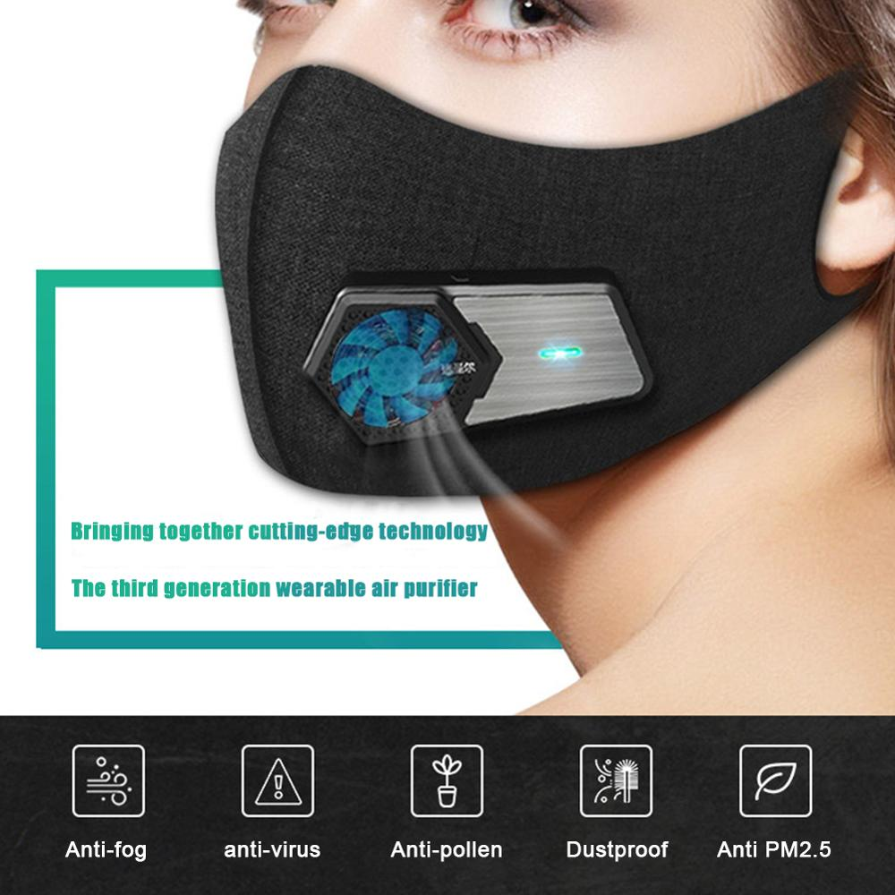 Smart Dust-proof Electric Mask Anti-Pollution Anti Dust Respirator PM2.5 Filter Outdoor Air Breathing Purifier mascarillas