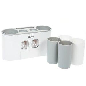 Image 5 - ECOCO support de brosse à dents mural Auto pressage distributeur de dentifrice brosse à dents dentifrice tasse stockage accessoires de salle de bain support de rangement brosse à dents et dentifrice avec 4 tasses