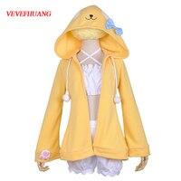 VEVEFHUANG Pajamas Game Azur Lane Teruzuki Cosplay Costume Lovely Cute Yellow Nightdress Sleepwear halloween costumes for women 1
