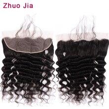 Фронтальная бразильская свободная глубокая волна 13x4 фронтальная кружевная застежка Remy человеческие волосы фронтальная кружевная застежка часть
