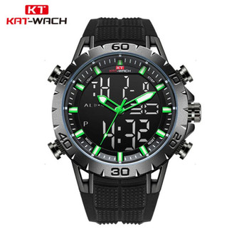 high quality Men Rubber strap Swim Watches LED Digital Alarm Quartz Watch Military Waterproof 50M Dual Display Clock NEW image