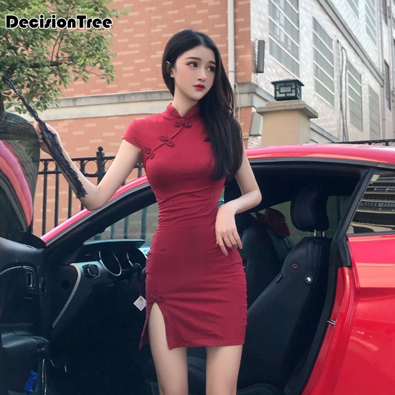 2020 Vintage Elegant Split Cheongsam Arrival Women's Satin Dress Qipao Red Balck Sexy Party Dress Mujer Vestidos Chinese Dress