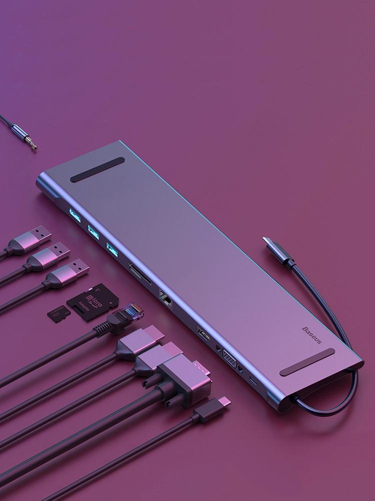 Baseus USB Type C HUB to 3.0 USB HDMI RJ45 USB HUB for MacBook Pro Accessories USB Splitter