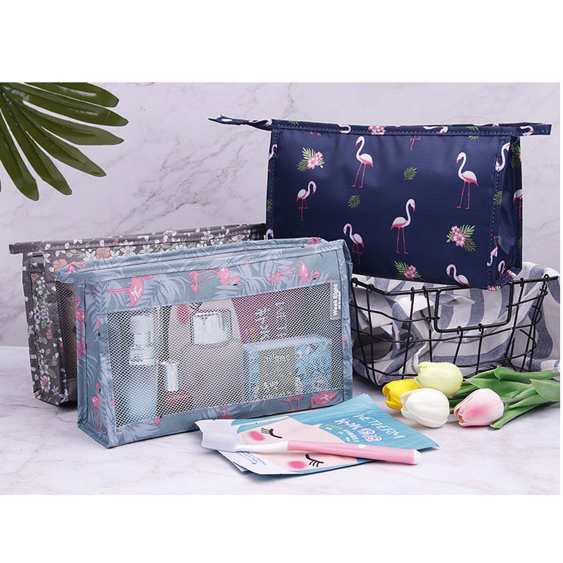Visible Vanity Bag Lady Travel Toiletries Pouch Large Capacity Flamingo Wash Makeup Storage Bag