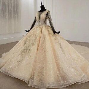 Image 3 - HTL1235 2020 งานแต่งงาน Boho แขนยาวภาพลวงตา V คอเลื่อมลูกปัดลูกไม้ UP sparkly งานแต่งงาน Robe de mariée bohème