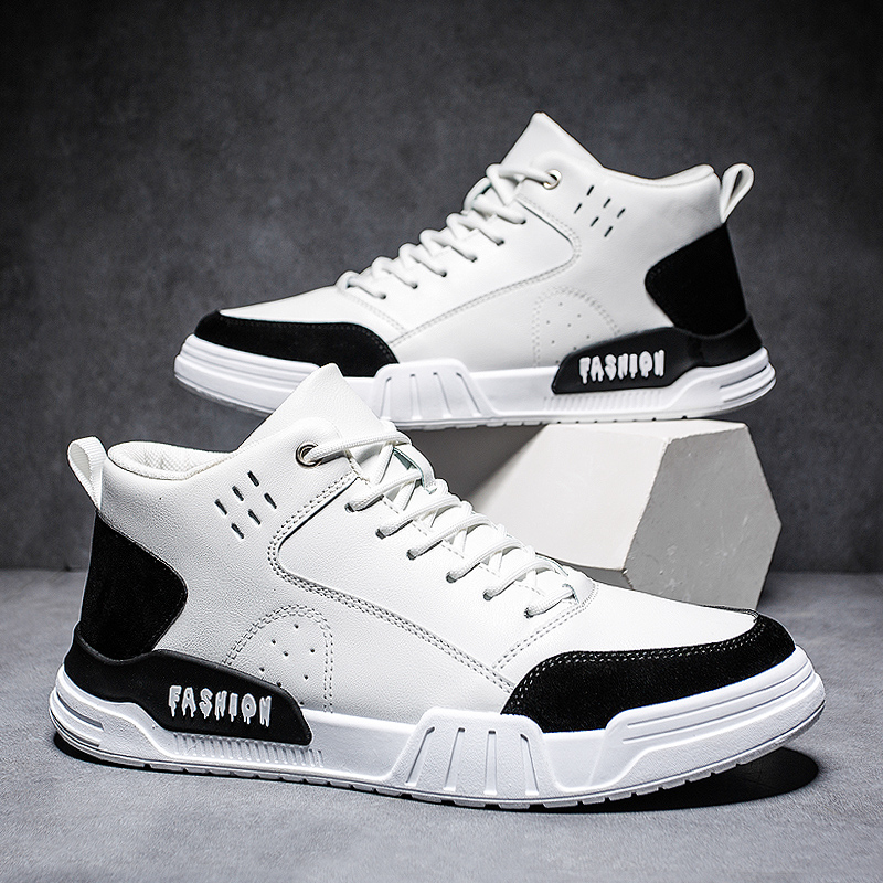 Mens Sneakers Casual Shoes Tenis Leisure Spring Breathable Leather Lace-up Shoes For Youth Boys Men Fashion Brand Black Shoes