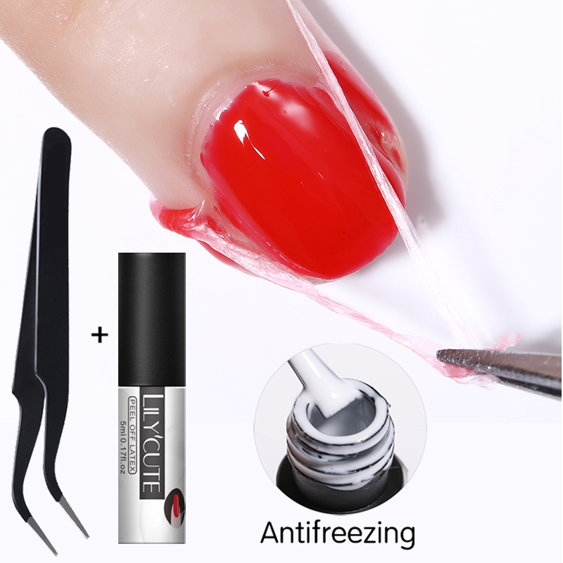 LILYCUTE 1 бутылка 5 мл отклеить ногти латекс Белый без запаха антифриз многофункциональные для ногтей художественный уход защитные приспособления для штамповки