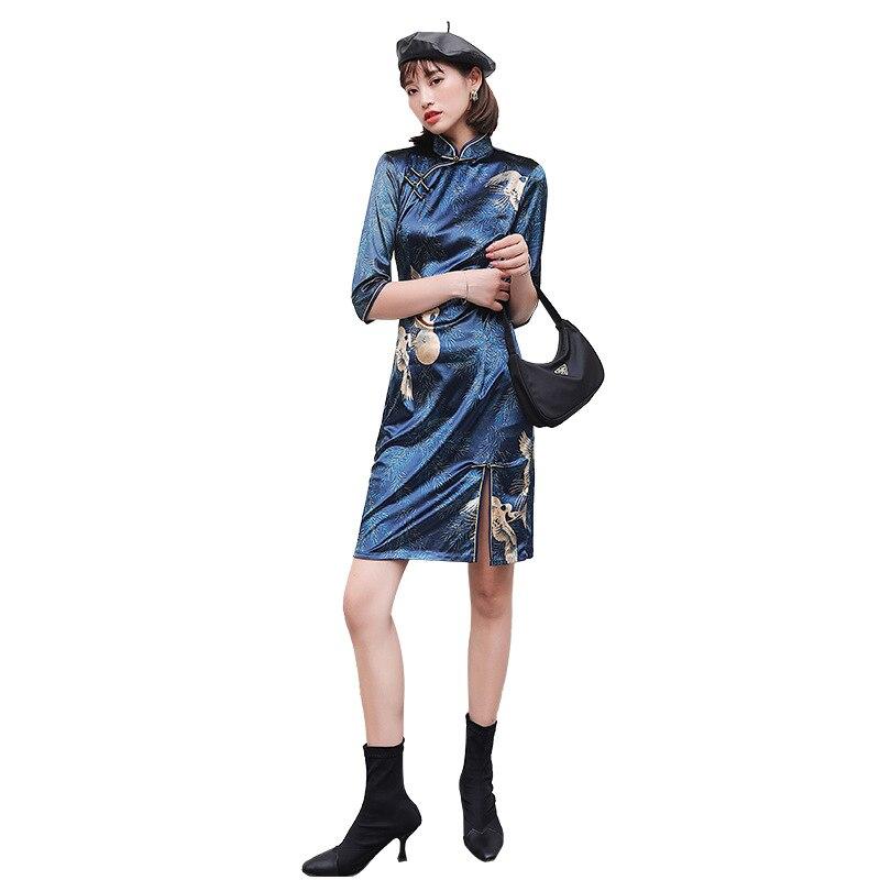 2020 Chinese Women Qipao Plus Vantage Print Flower Cheongsam Stain Long Dresses Elegant Female Chinese Dress