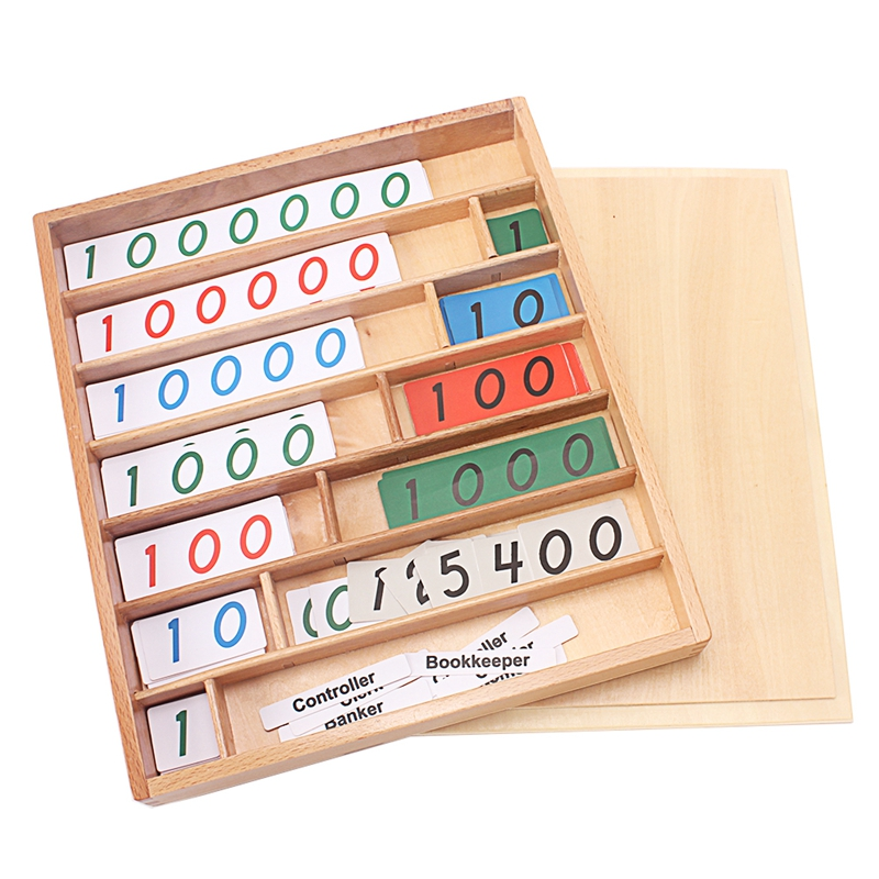 Montessori bois banque jeu mathématiques jouets numérique 0-9000000 banquier client caissier jeu maths jouets début éducatif préscolaire entraînement