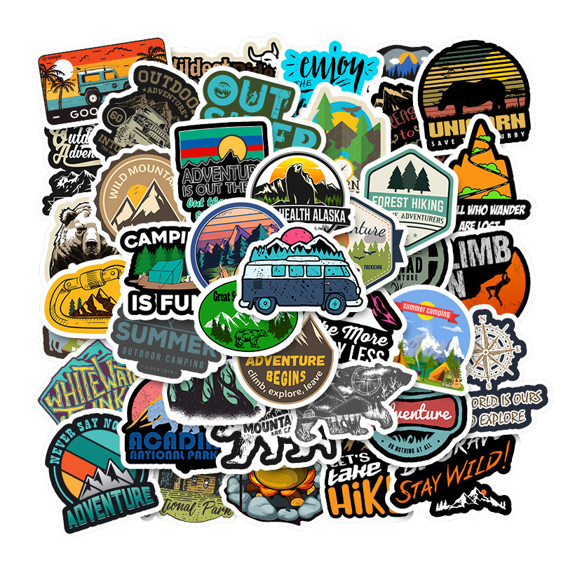 50Pcs Outdoor Retro Travel Adventure Sticker For Motorcycle Skateboard Laptop Luggage Bicycle Phonecase Decal Kids Toy Sticker